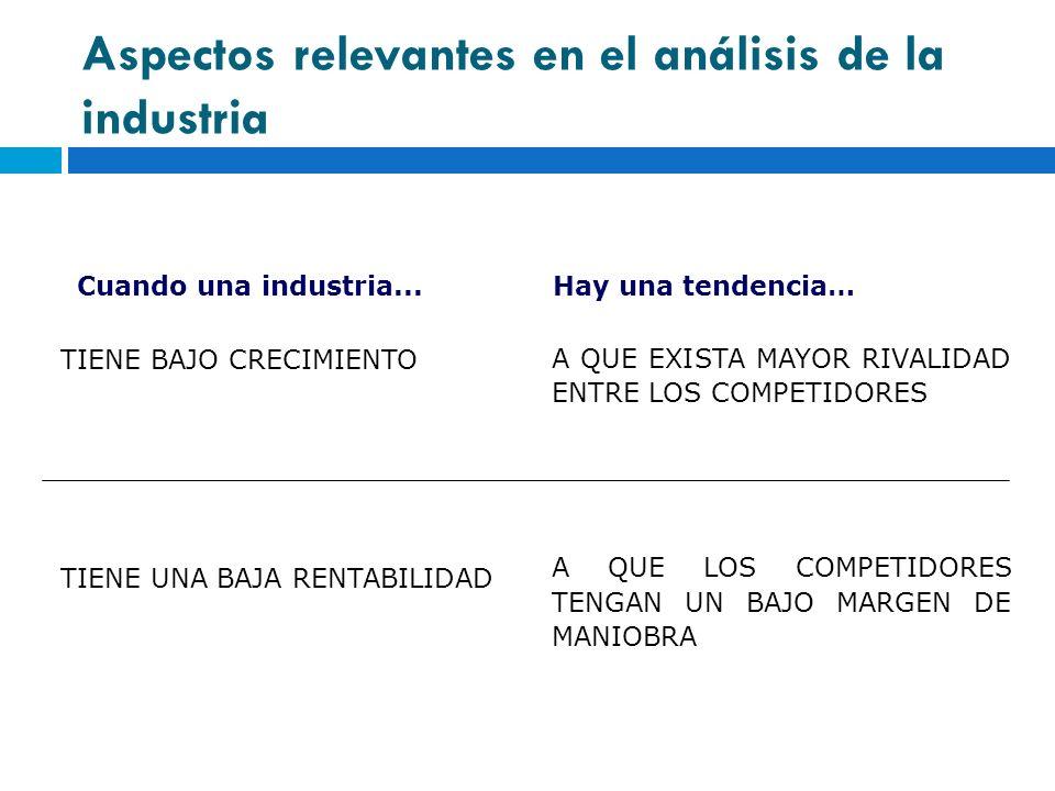 Aspectos relevantes en el análisis de la industria