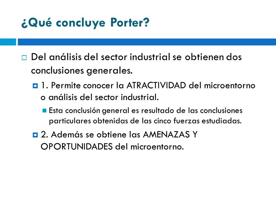 ¿Qué concluye Porter Del análisis del sector industrial se obtienen dos conclusiones generales.