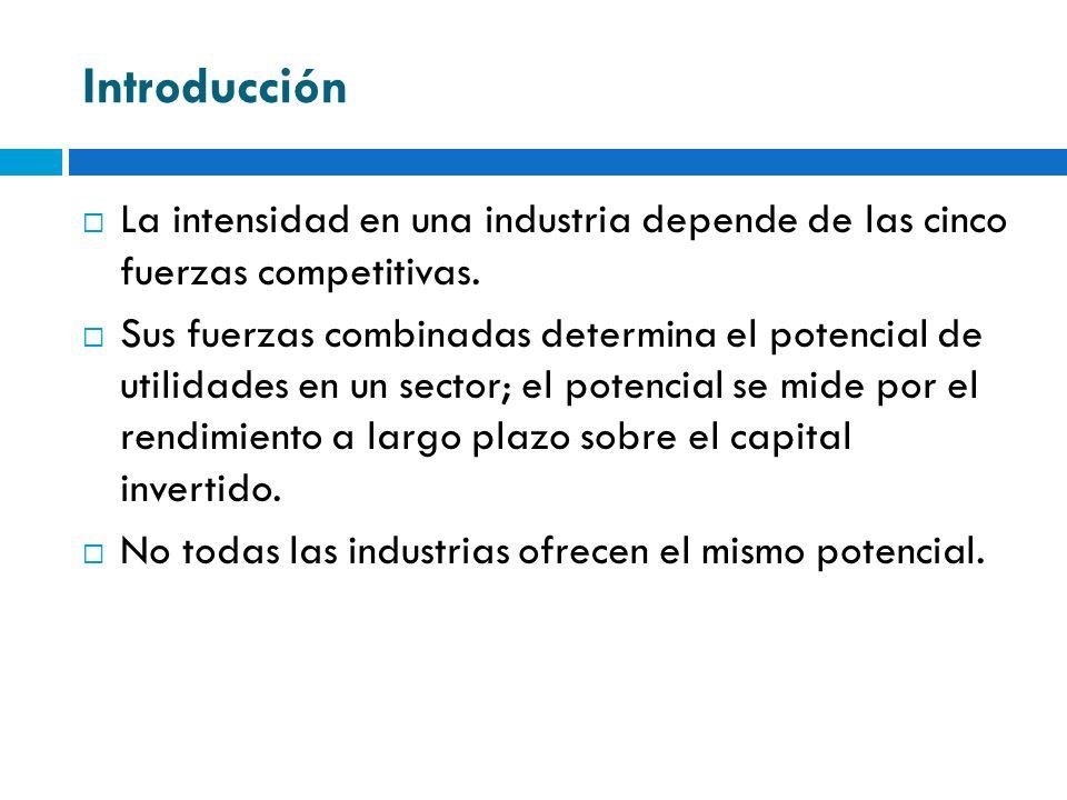 IntroducciónLa intensidad en una industria depende de las cinco fuerzas competitivas.