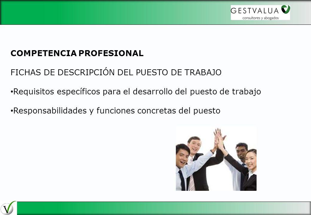29/03/2017 COMPETENCIA PROFESIONAL. FICHAS DE DESCRIPCIÓN DEL PUESTO DE TRABAJO. Requisitos específicos para el desarrollo del puesto de trabajo.
