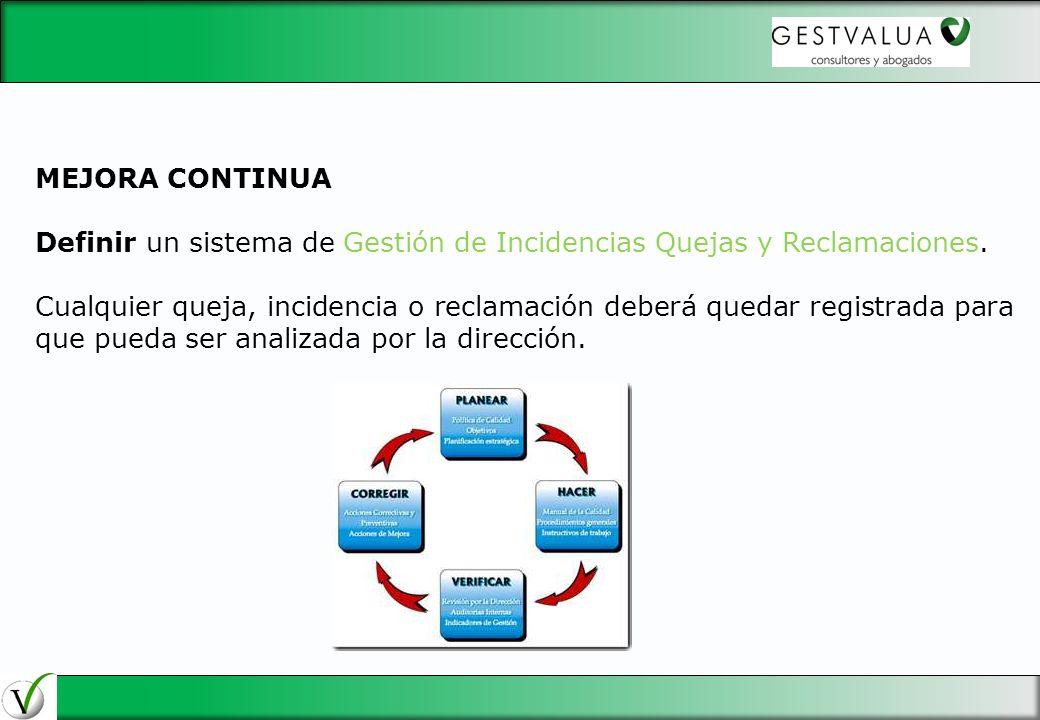 29/03/2017 MEJORA CONTINUA. Definir un sistema de Gestión de Incidencias Quejas y Reclamaciones.