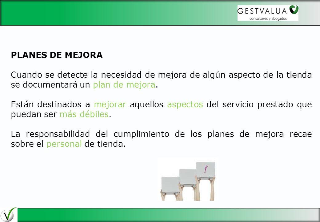 29/03/2017 PLANES DE MEJORA. Cuando se detecte la necesidad de mejora de algún aspecto de la tienda se documentará un plan de mejora.