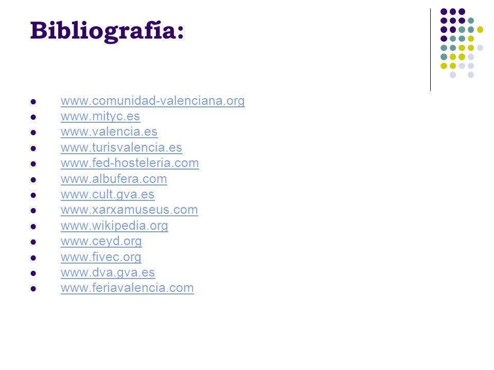Bibliografía: www.comunidad-valenciana.org www.mityc.es