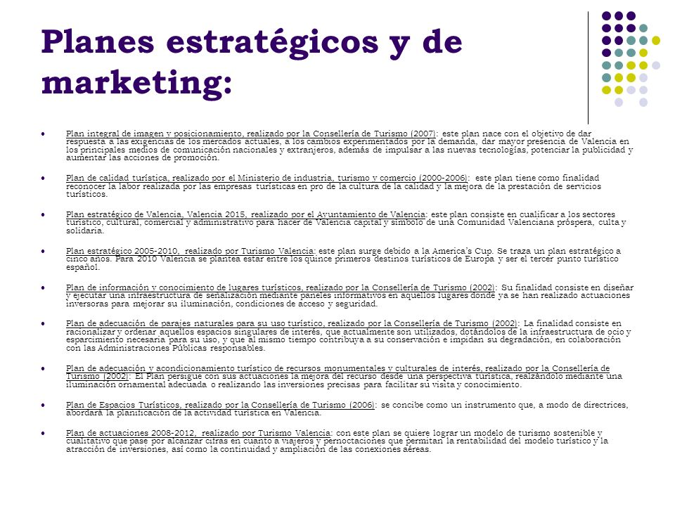 Planes estratégicos y de marketing: