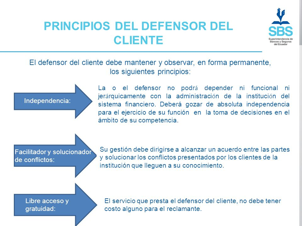 PRINCIPIOS DEL DEFENSOR DEL CLIENTE