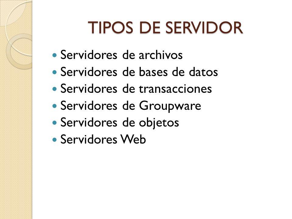 TIPOS DE SERVIDOR Servidores de archivos Servidores de bases de datos