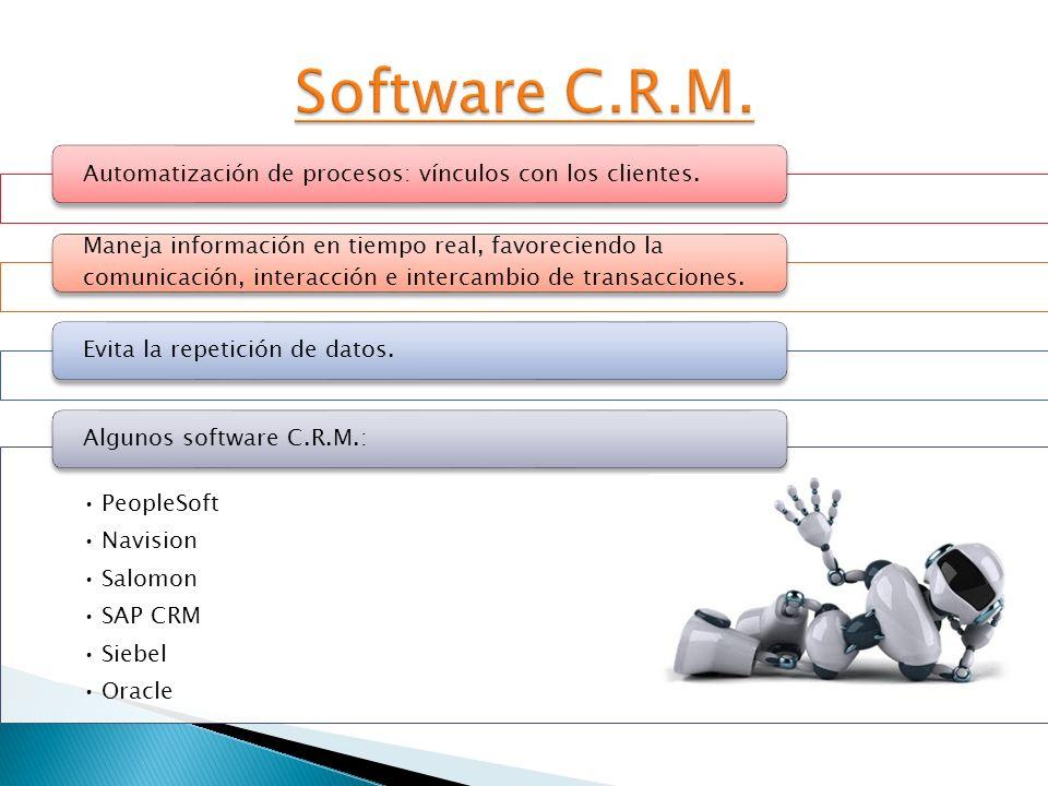Software C.R.M. Automatización de procesos: vínculos con los clientes.
