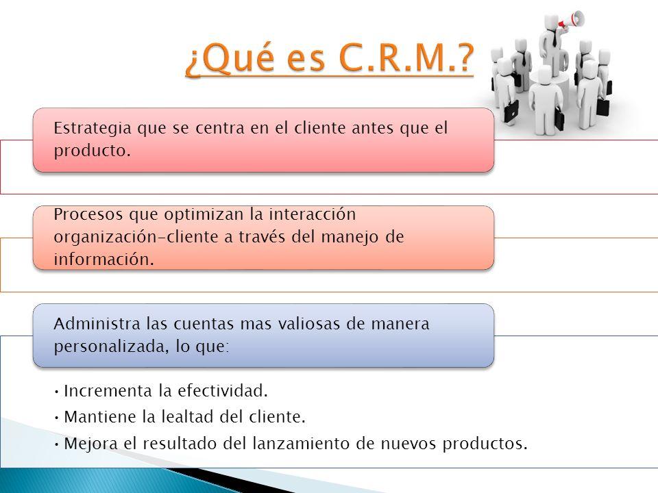 ¿Qué es C.R.M. Estrategia que se centra en el cliente antes que el producto.