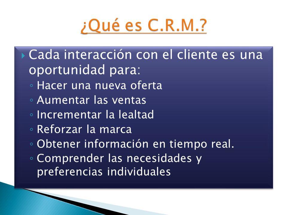 ¿Qué es C.R.M. Cada interacción con el cliente es una oportunidad para: Hacer una nueva oferta. Aumentar las ventas.
