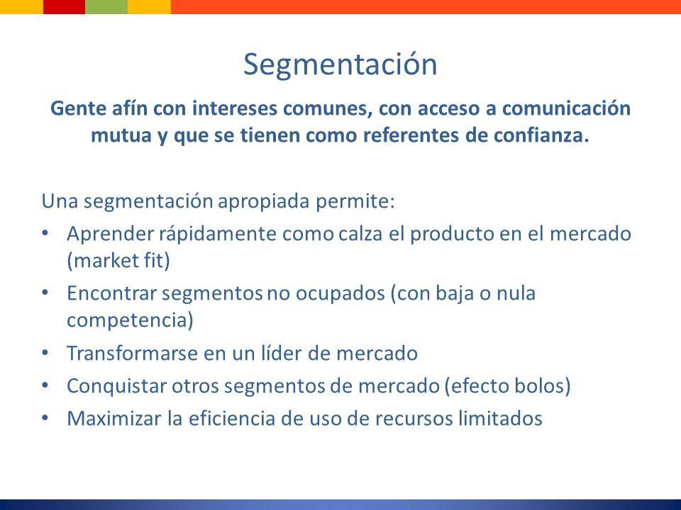 SegmentaciónGente afín con intereses comunes, con acceso a comunicación mutua y que se tienen como referentes de confianza.