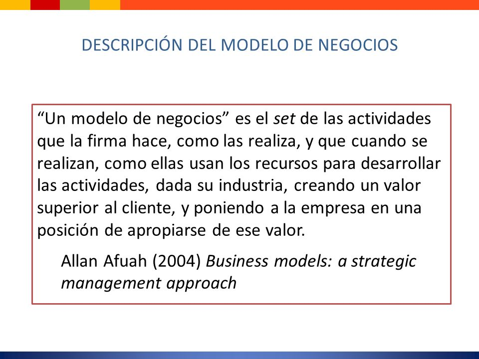 DESCRIPCIÓN DEL MODELO DE NEGOCIOS