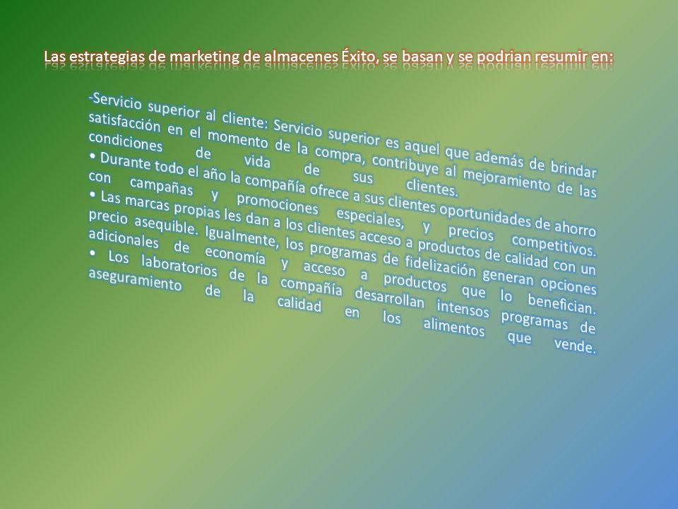 Las estrategias de marketing de almacenes Éxito, se basan y se podrian resumir en: