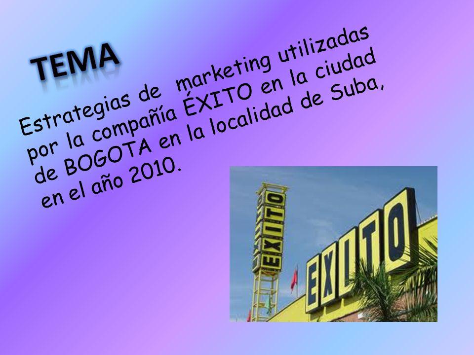 TEMA Estrategias de marketing utilizadas por la compañía ÉXITO en la ciudad de BOGOTA en la localidad de Suba, en el año 2010.