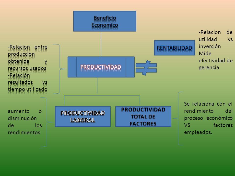 Beneficio Economico. -Relacion de utilidad vs inversión. Mide efectividad de gerencia. RENTABILIDAD.