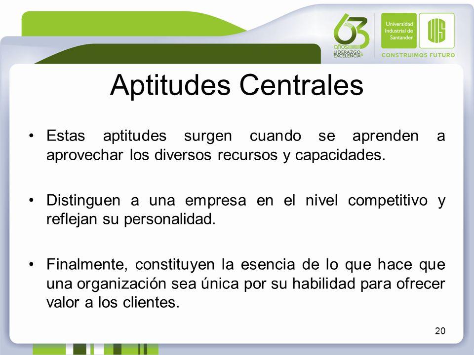 Aptitudes Centrales Estas aptitudes surgen cuando se aprenden a aprovechar los diversos recursos y capacidades.