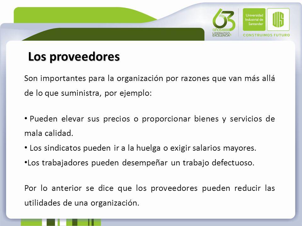 Los proveedores Son importantes para la organización por razones que van más allá de lo que suministra, por ejemplo: