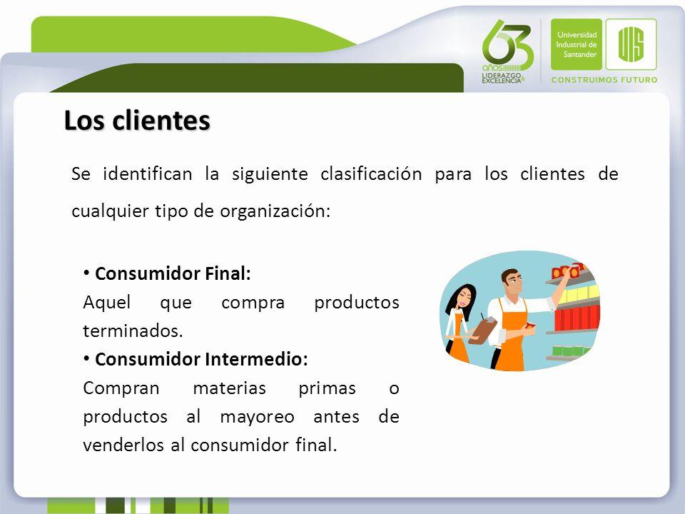 Los clientesSe identifican la siguiente clasificación para los clientes de cualquier tipo de organización: