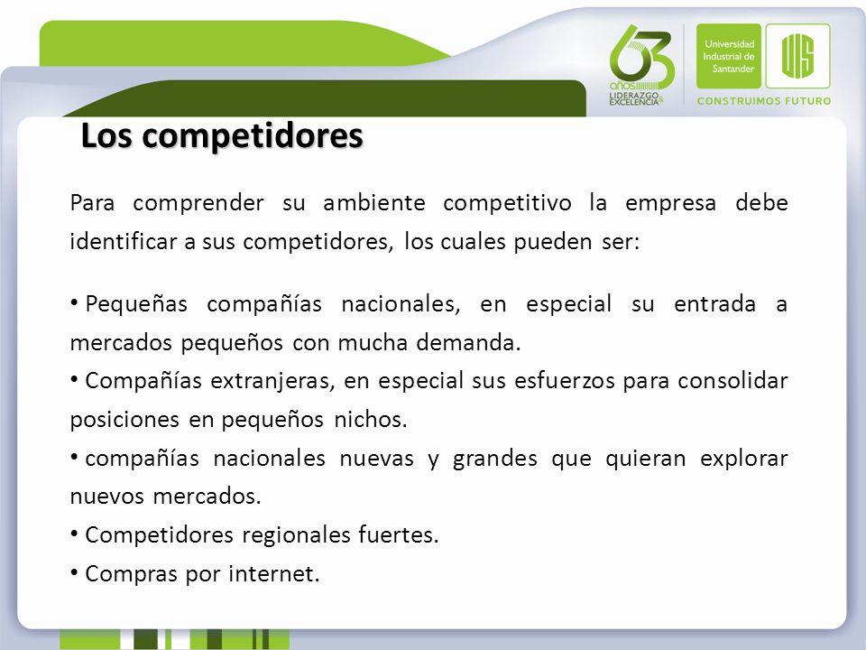 Los competidores Para comprender su ambiente competitivo la empresa debe identificar a sus competidores, los cuales pueden ser:
