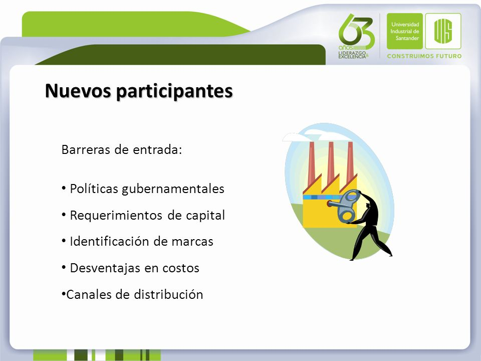 Nuevos participantes Barreras de entrada: Políticas gubernamentales