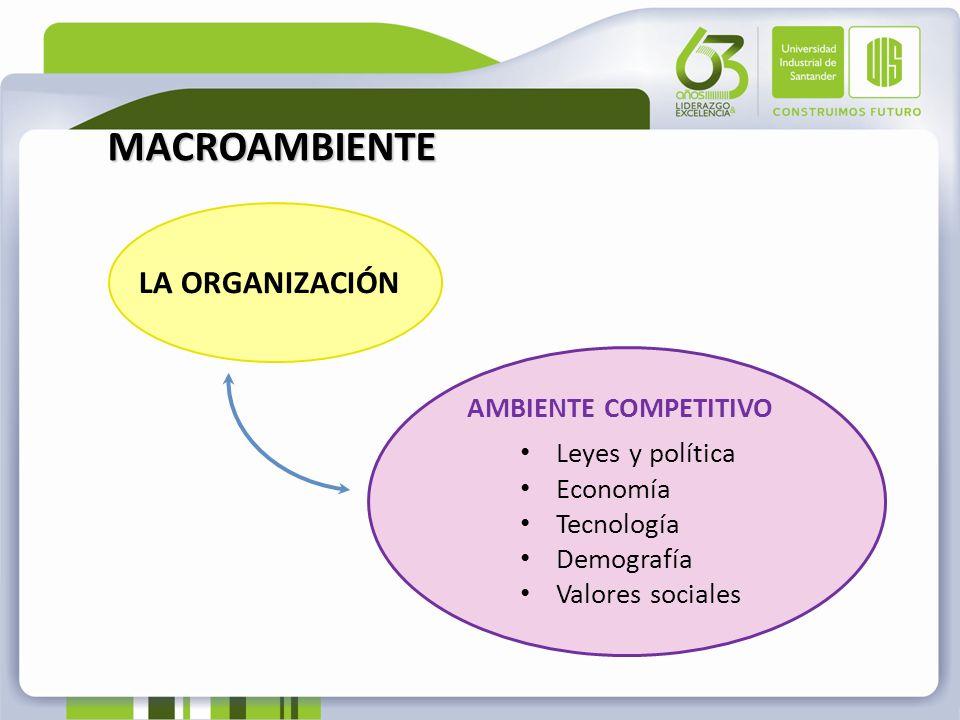 MACROAMBIENTE LA ORGANIZACIÓN AMBIENTE COMPETITIVO Leyes y política