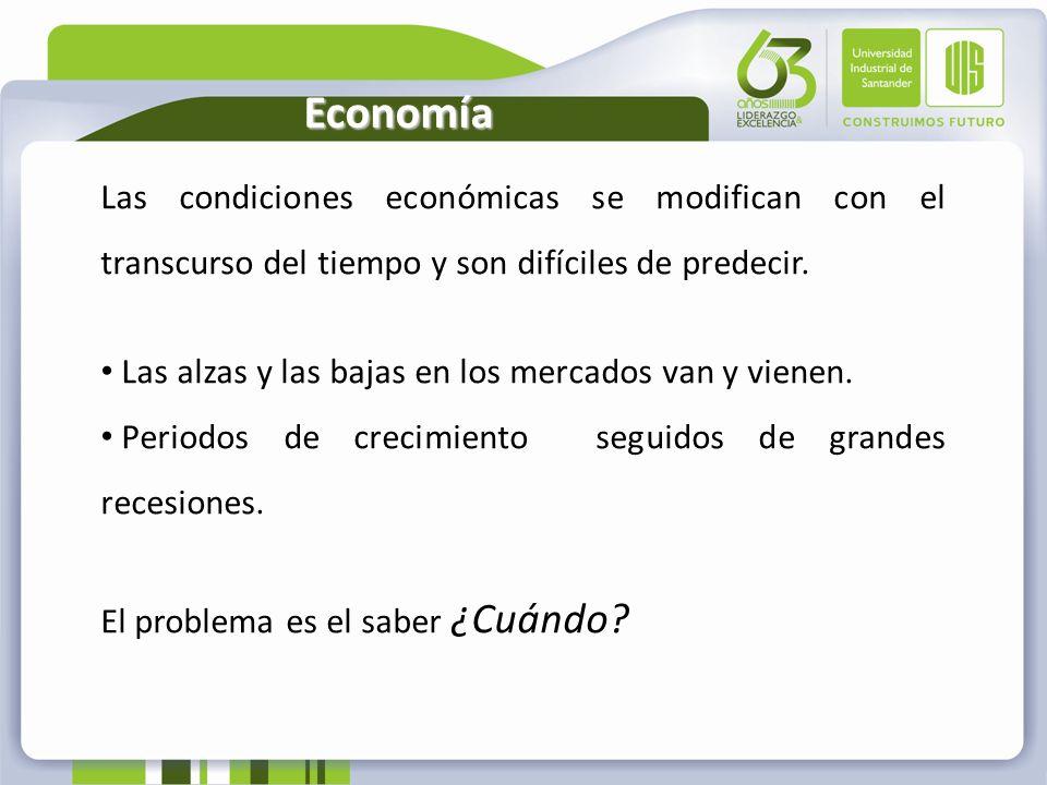 EconomíaLas condiciones económicas se modifican con el transcurso del tiempo y son difíciles de predecir.