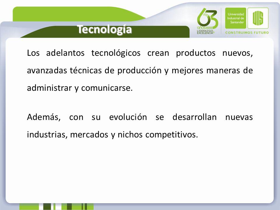 TecnologíaLos adelantos tecnológicos crean productos nuevos, avanzadas técnicas de producción y mejores maneras de administrar y comunicarse.