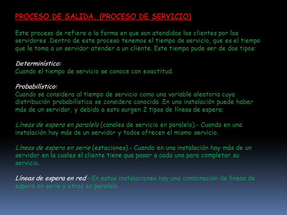 PROCESO DE SALIDA. (PROCESO DE SERVICIO)