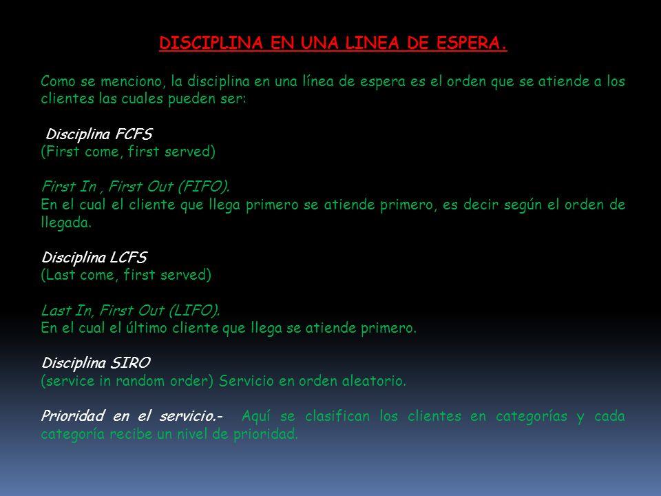 DISCIPLINA EN UNA LINEA DE ESPERA.