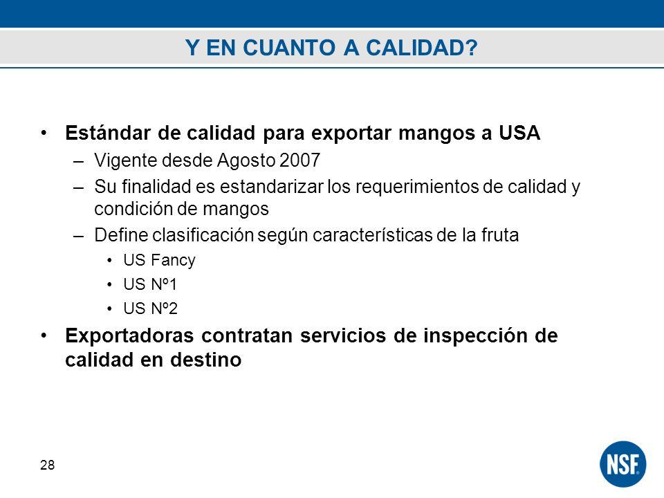 Y EN CUANTO A CALIDAD Estándar de calidad para exportar mangos a USA