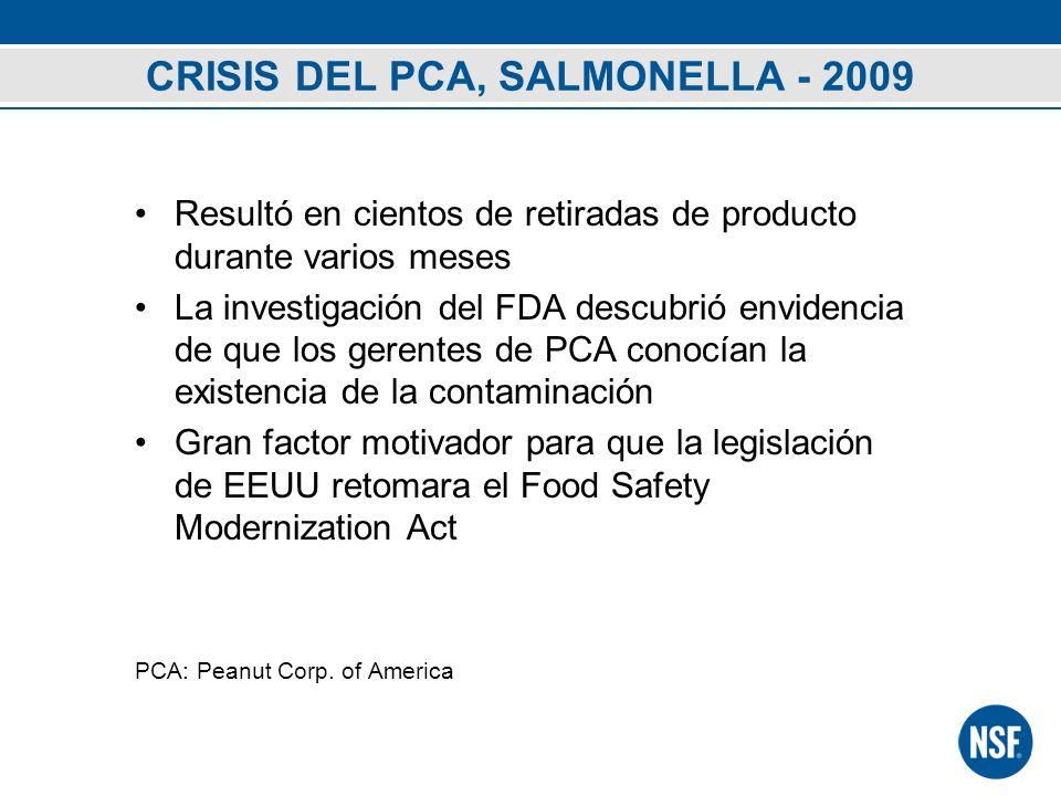 CRISIS DEL PCA, SALMONELLA - 2009