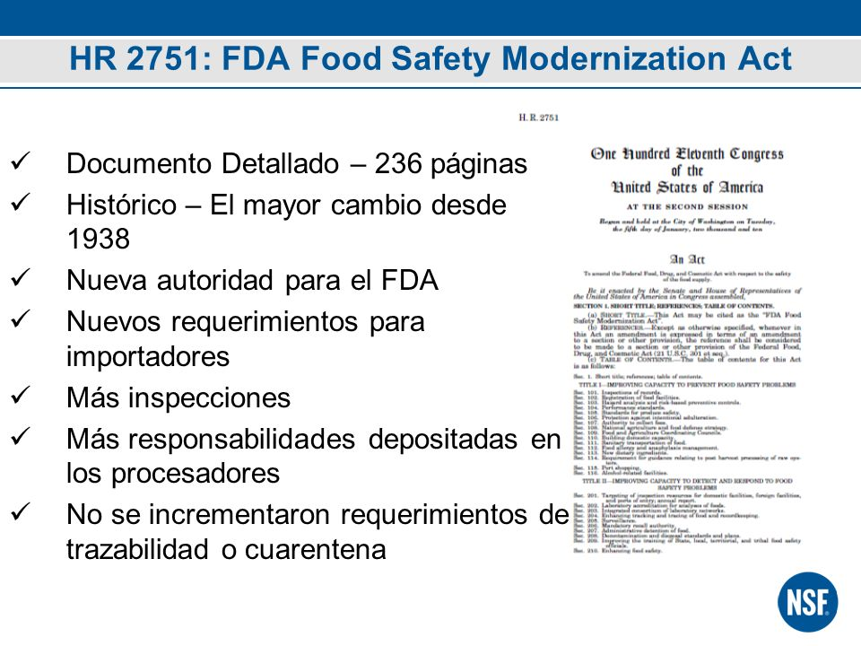 HR 2751: FDA Food Safety Modernization Act