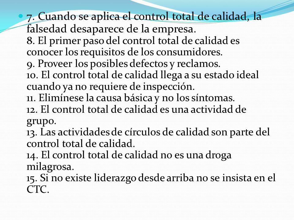 7. Cuando se aplica el control total de calidad, la falsedad desaparece de la empresa.