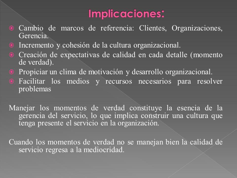 Implicaciones: Cambio de marcos de referencia: Clientes, Organizaciones, Gerencia. Incremento y cohesión de la cultura organizacional.