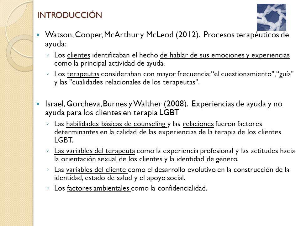 INTRODUCCIÓN Watson, Cooper, McArthur y McLeod (2012). Procesos terapéuticos de ayuda: