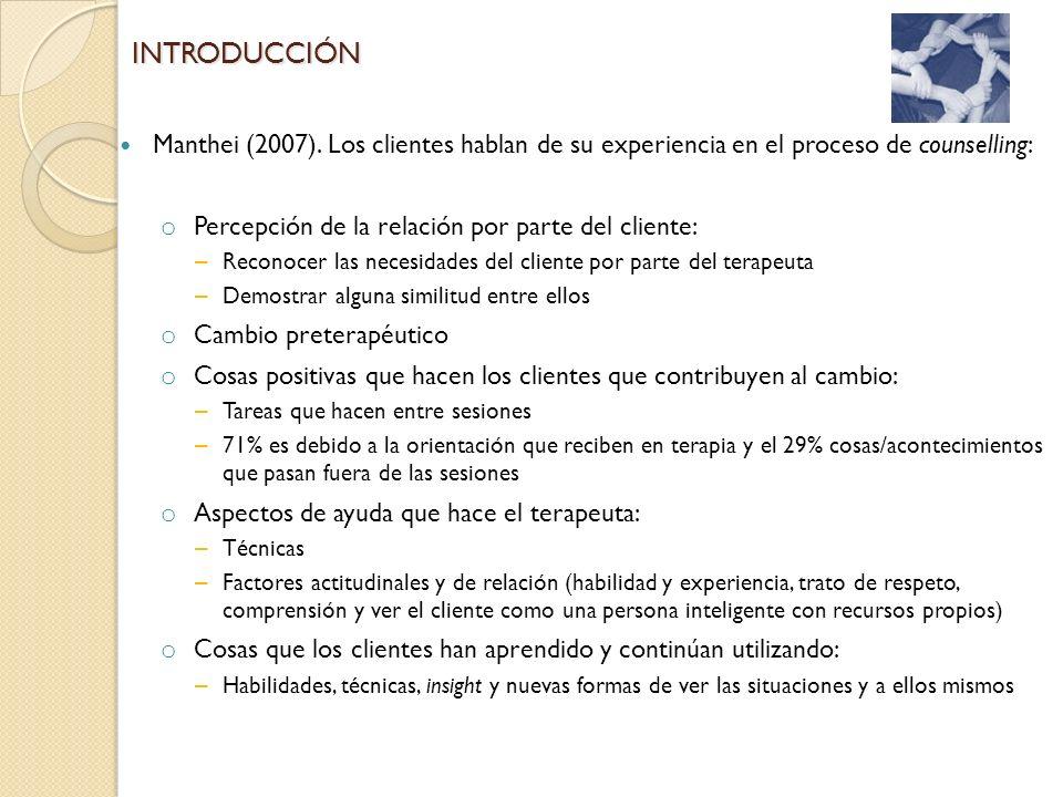 Percepción de la relación por parte del cliente: