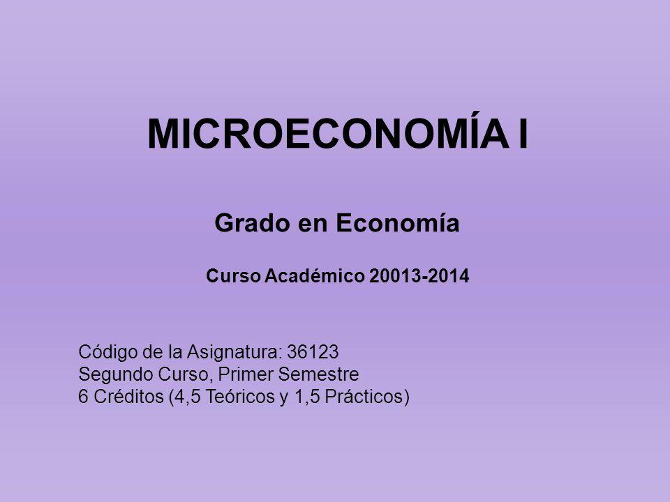 MICROECONOMÍA I Grado en Economía Curso Académico 20013-2014