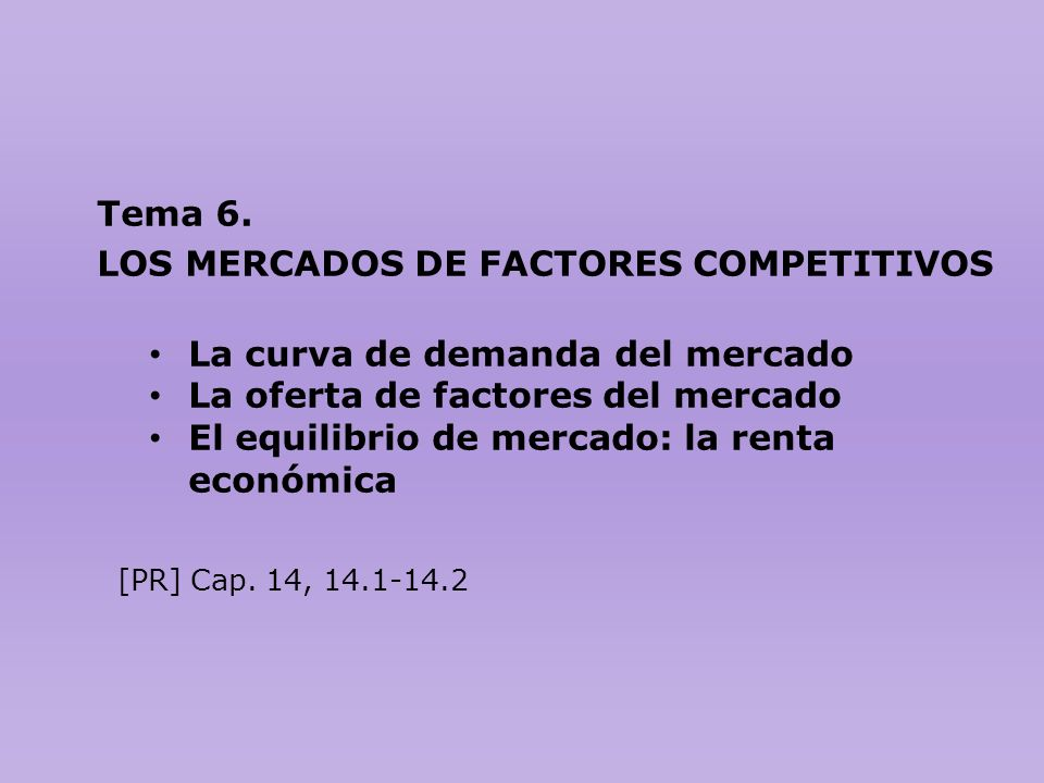 LOS MERCADOS DE FACTORES COMPETITIVOS La curva de demanda del mercado