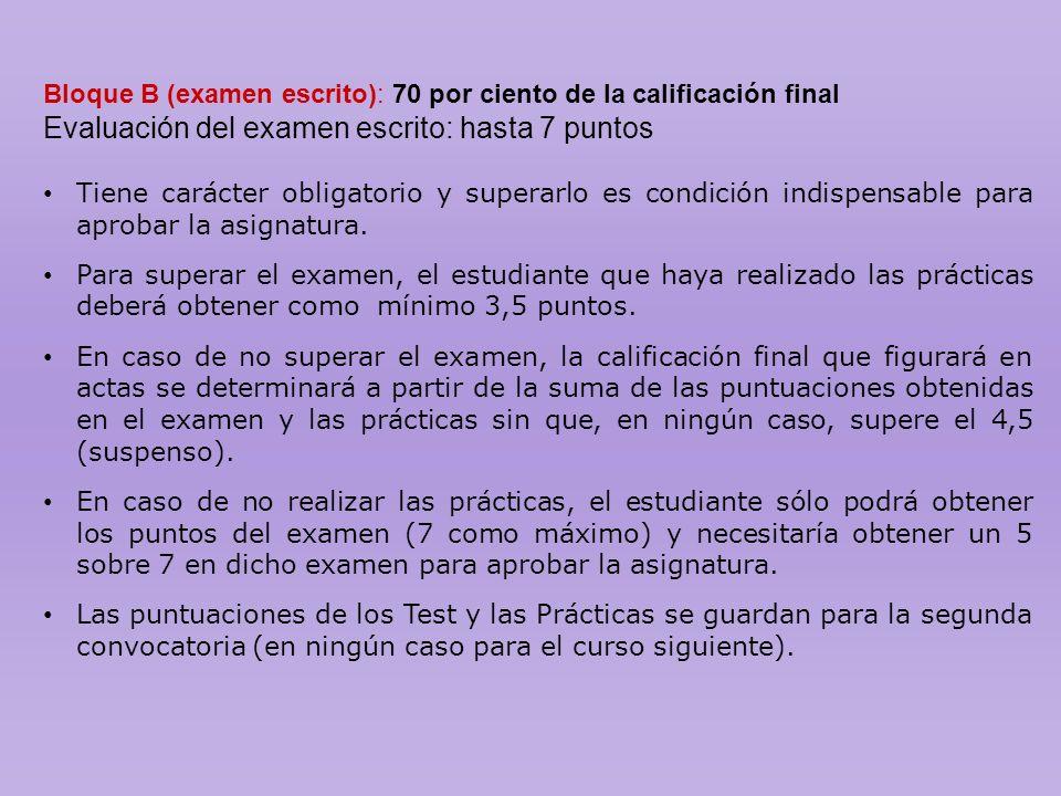 Evaluación del examen escrito: hasta 7 puntos