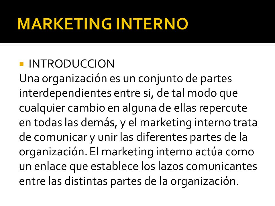 MARKETING INTERNO INTRODUCCION