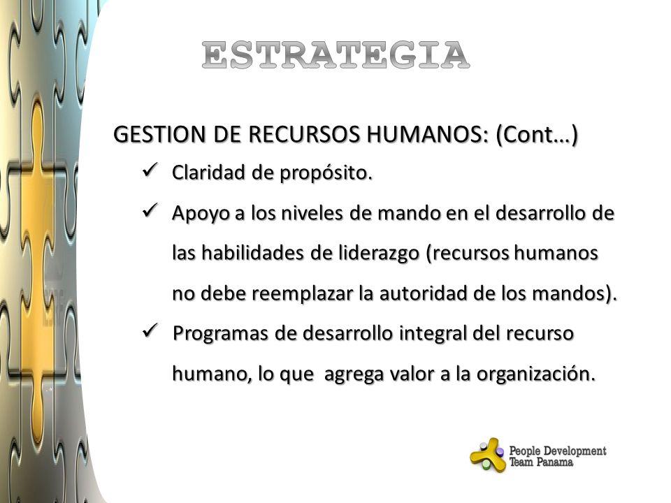 ESTRATEGIA GESTION DE RECURSOS HUMANOS: (Cont…) Claridad de propósito.