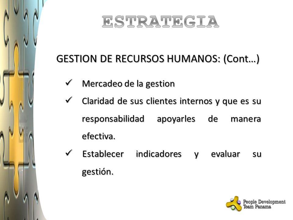 ESTRATEGIA GESTION DE RECURSOS HUMANOS: (Cont…) Mercadeo de la gestion