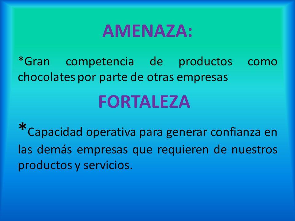 AMENAZA: *Gran competencia de productos como chocolates por parte de otras empresas. FORTALEZA.