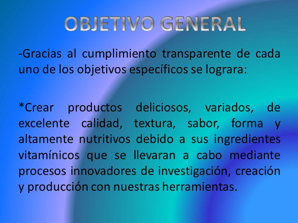 OBJETIVO GENERAL -Gracias al cumplimiento transparente de cada uno de los objetivos específicos se lograra: