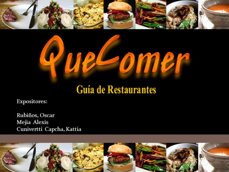 Expositores: Rubiños, Oscar Mejia Alexis Cunivertti Capcha, Kattia