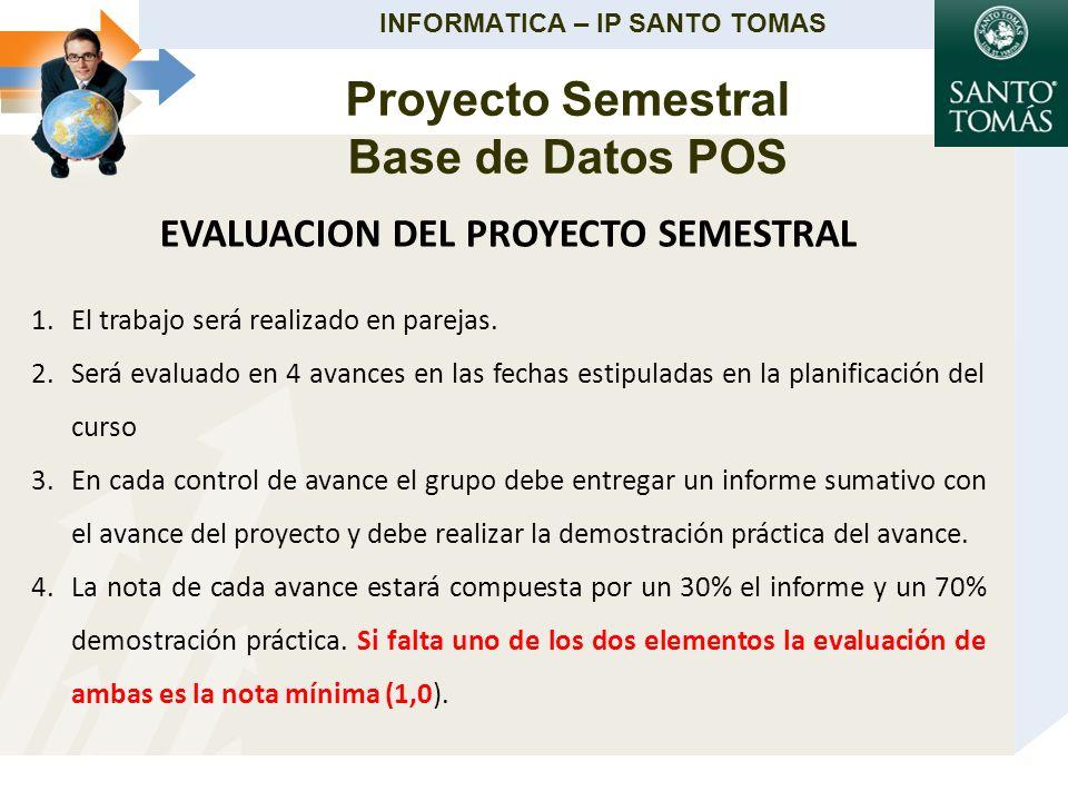 INFORMATICA – IP SANTO TOMAS EVALUACION DEL PROYECTO SEMESTRAL