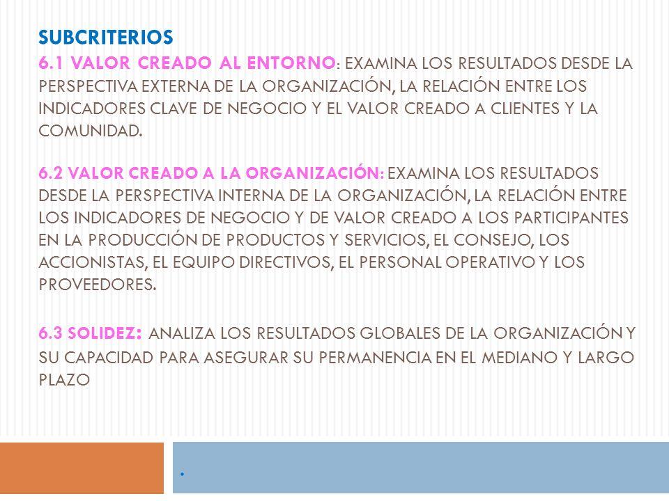 Subcriterios 6.1 Valor creado al entorno: examina los resultados desde la perspectiva externa de la organización, la relación entre los indicadores clave de negocio y el valor creado a clientes y la comunidad. 6.2 Valor creado a la Organización: examina los resultados desde la perspectiva interna de la organización, la relación entre los indicadores de negocio y de valor creado a los participantes en la producción de productos y servicios, el Consejo, los accionistas, el equipo directivos, el personal operativo y los proveedores. 6.3 Solidez: analiza los resultados globales de la organización y su capacidad para asegurar su permanencia en el mediano y largo plazo