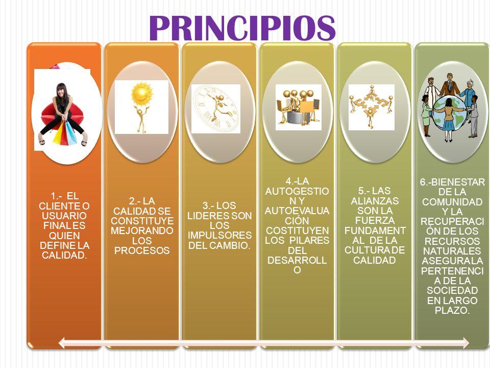 PRINCIPIOS 1.- EL CLIENTE O USUARIO FINAL ES QUIEN DEFINE LA CALIDAD. 2.- LA CALIDAD SE CONSTITUYE MEJORANDO LOS PROCESOS.