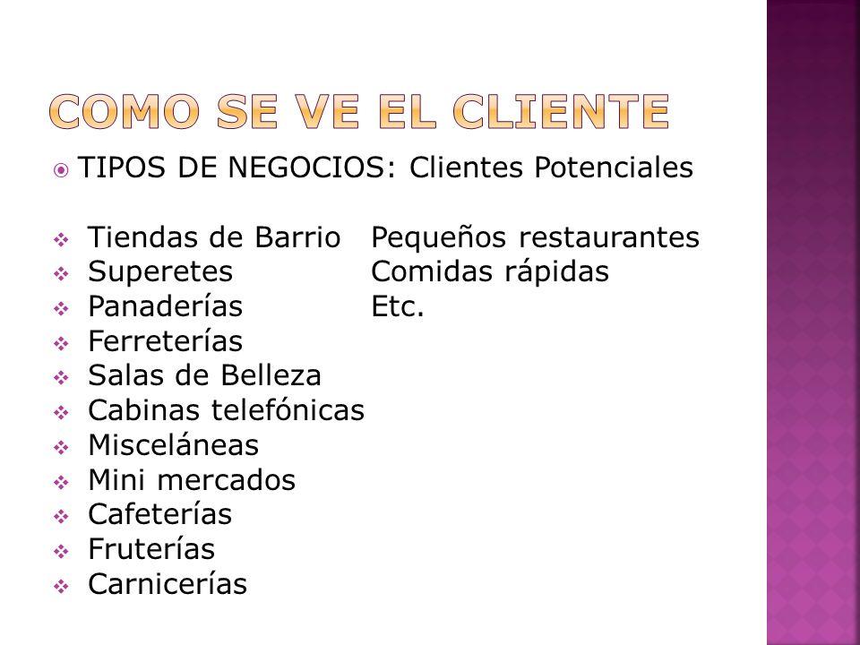 Como se ve el cliente TIPOS DE NEGOCIOS: Clientes Potenciales