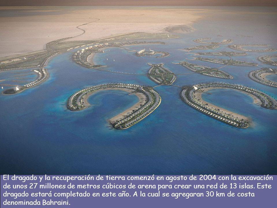 El dragado y la recuperación de tierra comenzó en agosto de 2004 con la excavación de unos 27 millones de metros cúbicos de arena para crear una red de 13 islas.