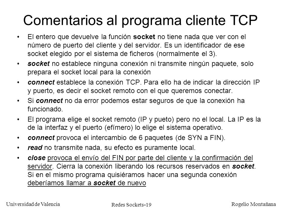 Comentarios al programa cliente TCP